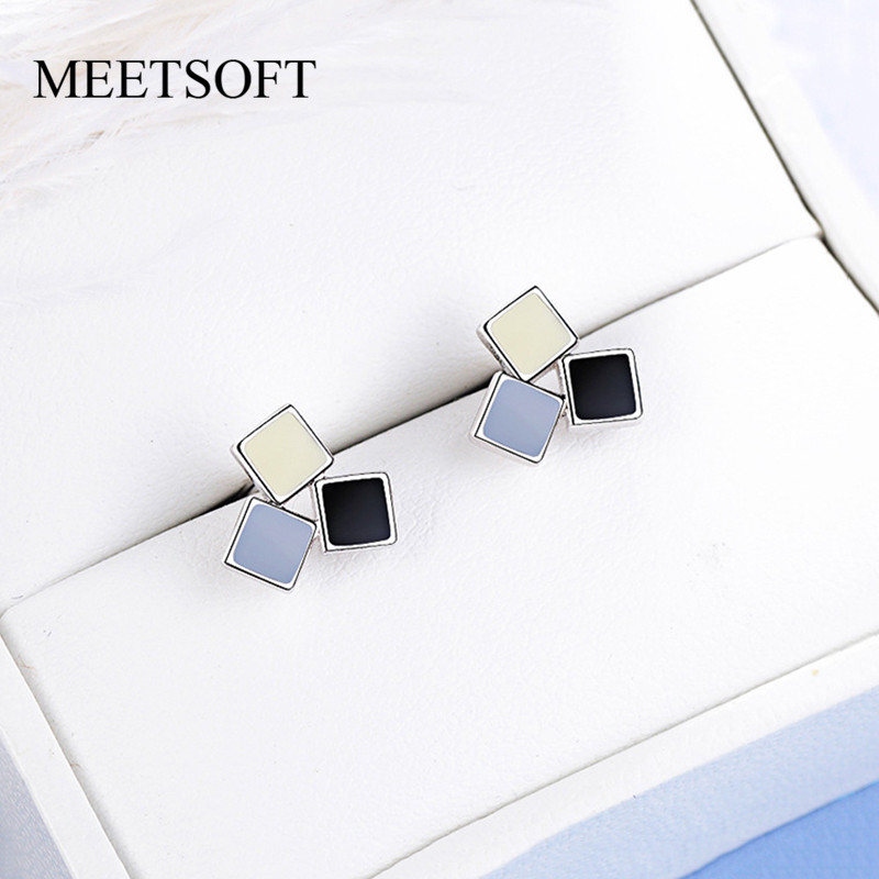 MEETSOFT 925 Sterling Silver Prevent Allergy  Stud Earrings For Women Design Trendy  Small Mix Colour  Square  Jewelry Gift