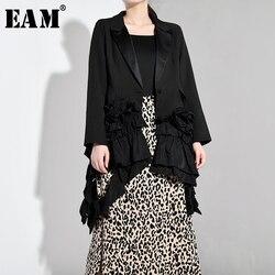 Женская Асимметричная куртка EAM, черная свободная плиссированная куртка с отложным воротником и трехмерными цветами, весна-осень 2020, JQ77