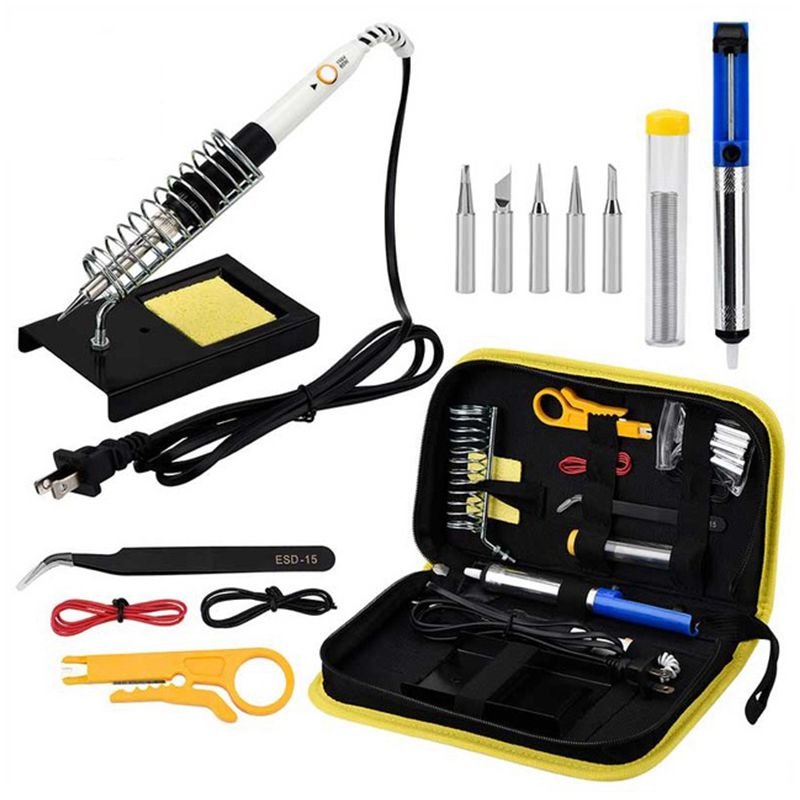 US Plug 60w 220v Adjustable Temperature Soldering Iron Kit Yellow Set +5 Tips+Desoldering Pump+Soldering Iron Stand