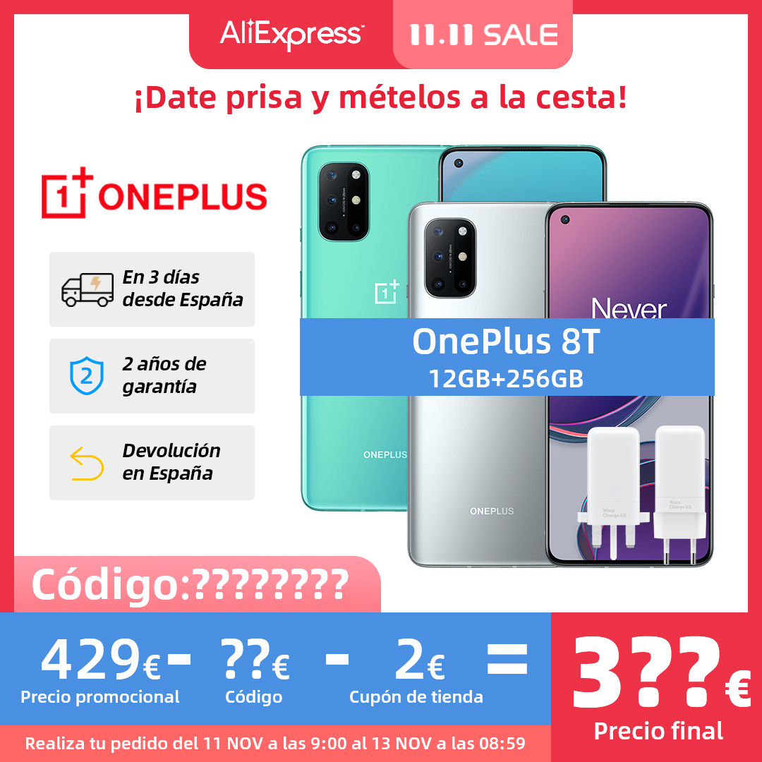 New Global ROM OnePlus 8T 8 T Smartphone Snapdragon 865 5G 6.55'' 120Hz Fluid Display 48MP Quad Camera Warp Charge 65 NFC Cellphones  - AliExpress