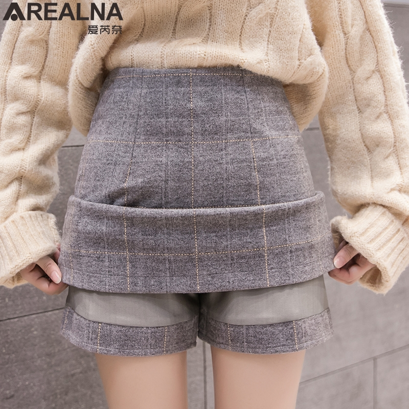 High Waist A-line Winter Woolen Skirt Women 2019 Autumn Vintage Plaid Mini Shorts Skirts Womens Office Work Skirt Jupe Femme