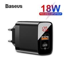 Baseus USB PD зарядное устройство для iPhone 11 Pro XR Xs Max 18 Вт Цифровой дисплей быстрое зарядное устройство Quick Charge 3,0 зарядное устройство для телефона Xiaomi K20