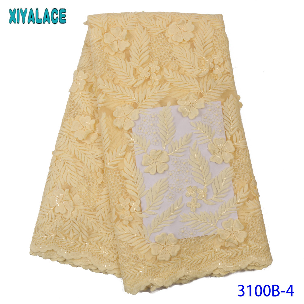 Latest Yellow Tulle Lace Fabric High Quality Europe And American Fashion Net Fabric With Sequins French Lace Fabric KS3100B