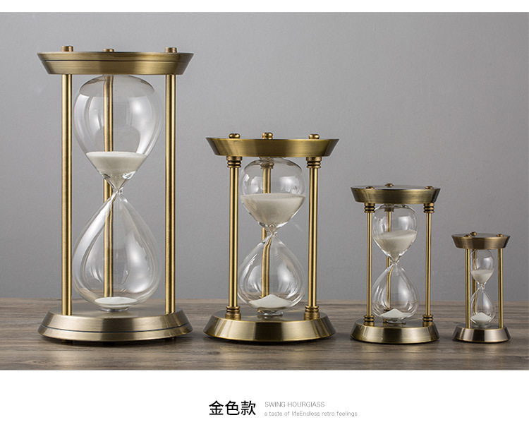 >Time hourglass timer creative metal <font><b>study</b></font> <font><b>living</b></font> room <font><b>office</b></font> desktop decoration home accessories birthday gift