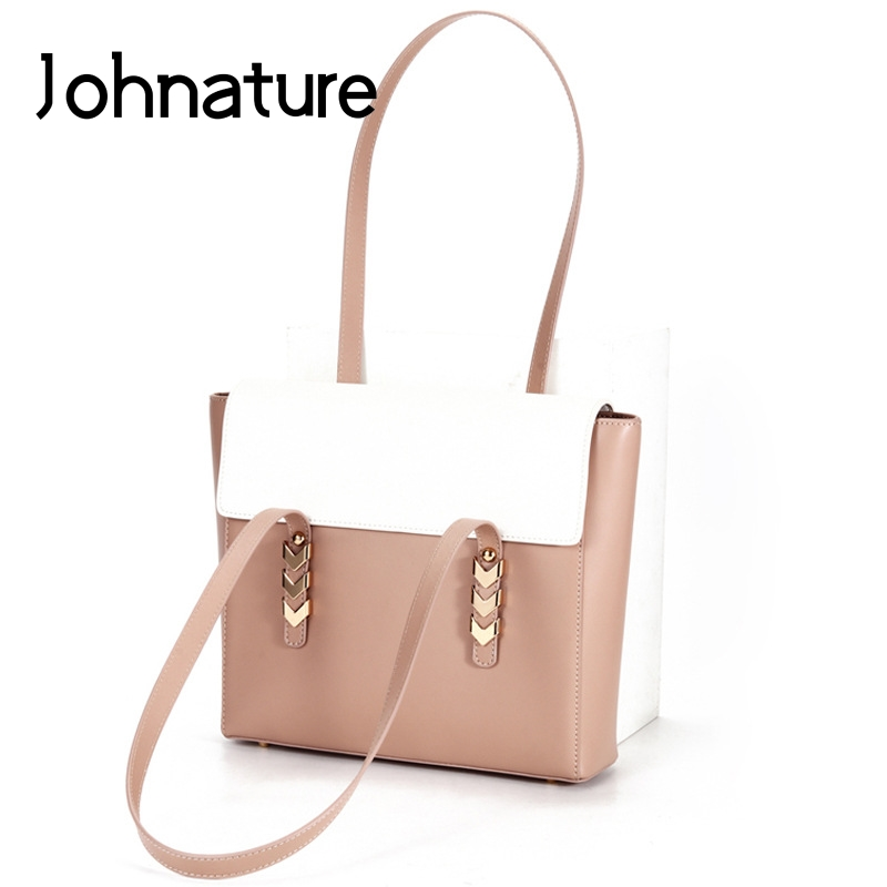 Johnature Fashion Cow Leather Women Bag 2020 New Casual Tote Large Capacity Cowhide Shoulder Bags Solid Color Female Handbag