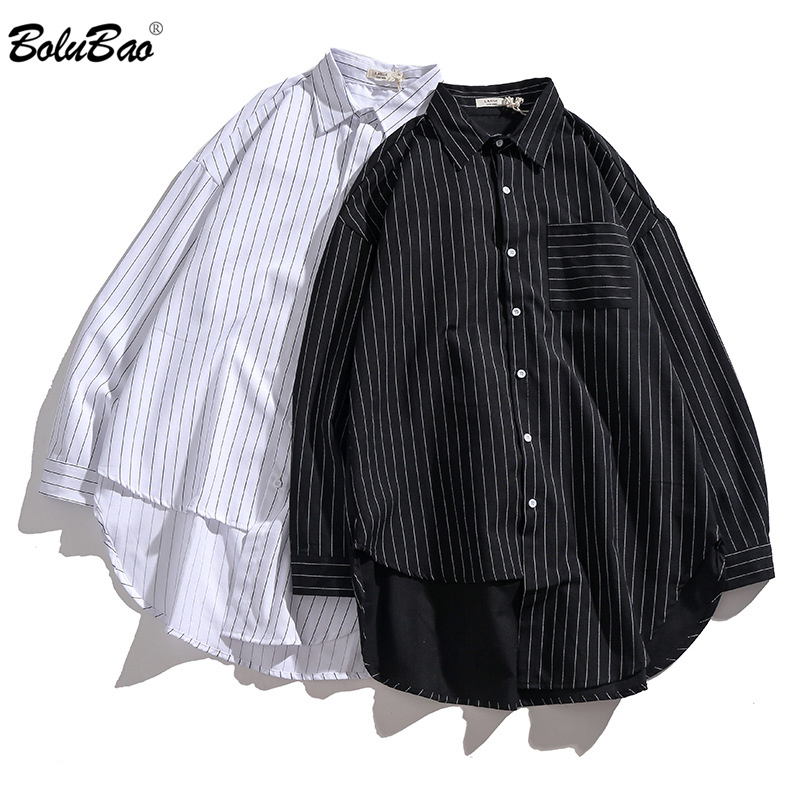 BOLUBAO Fashion Brand Men Casual Shirt Tops Spring Autumn Men's Business Thin Shirt Personality Long Sleeve Striped Shirts Male