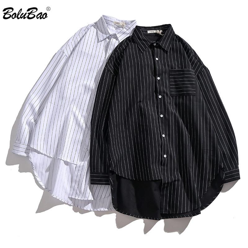 BOLUBAO Fashion Brand Men Casual Shirt Tops Spring Autumn Men's Business Thin Shirt Personality Long Sleeve Striped Shirts Male