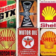 BP aceites de Motor carcasa de Metal estaño signo Gastrol Shabby signos casa pegatinas de pared arte cartel Vintage placa de pared para la decoración de Bar Pub Club