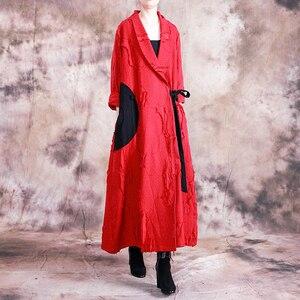 Image 4 - Johnature automne/hiver 2019 nouveau manteau de Trench Vintage femmes col rabattu ample longue Patchwork réglable taille manteau