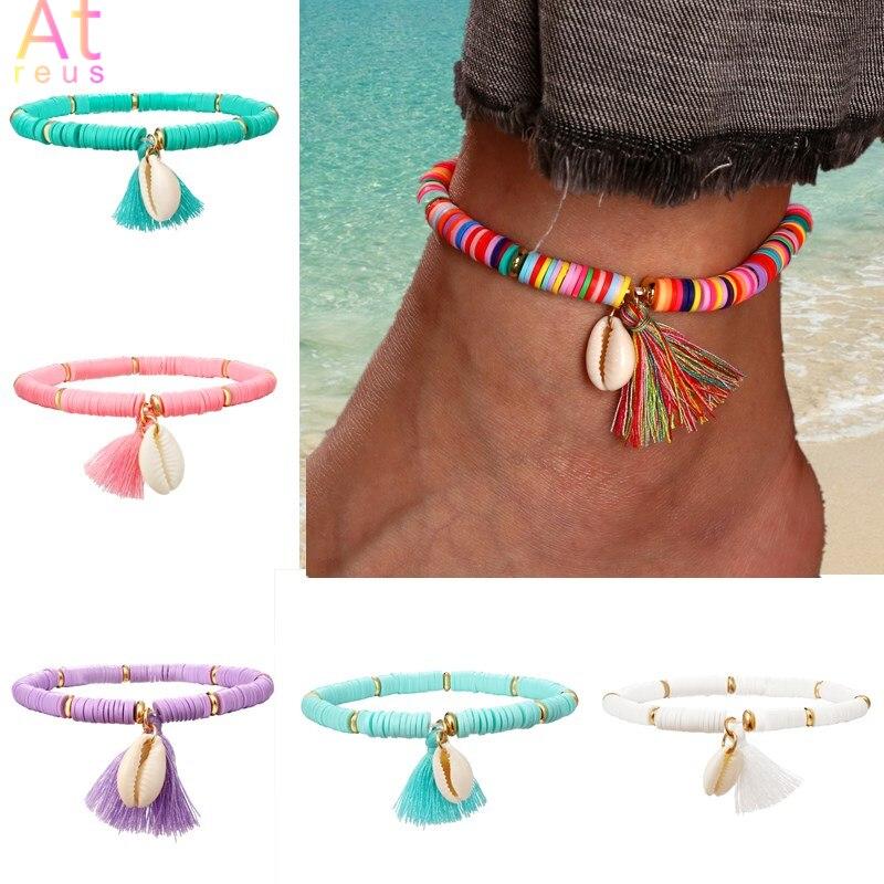 Multicolorido borla tornozeleira boêmio jóias para mulher acrílico frisado elástico corrente tornozelo perna pé corrente