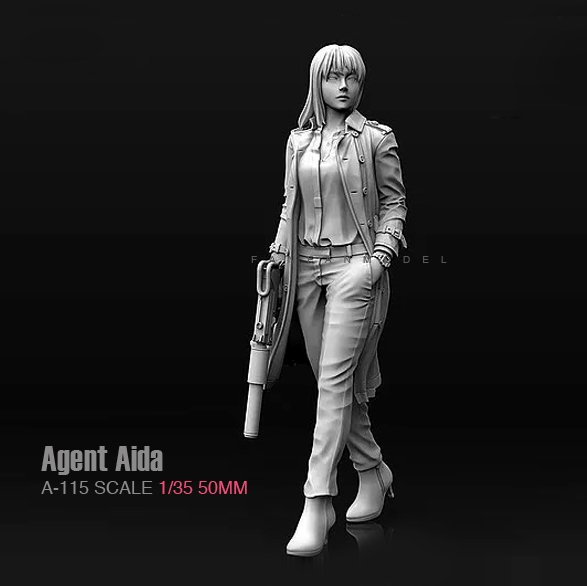 1/35 ,55mm Resin Model Kit Figures Agent Aida Female Shooter Unpainted A-115