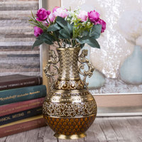Size S Height 25cm Vintage Home Decor Antique Flower Carved Metal Vase Luxury Tabletop Art Craft Decoration Home Ornaments Gift