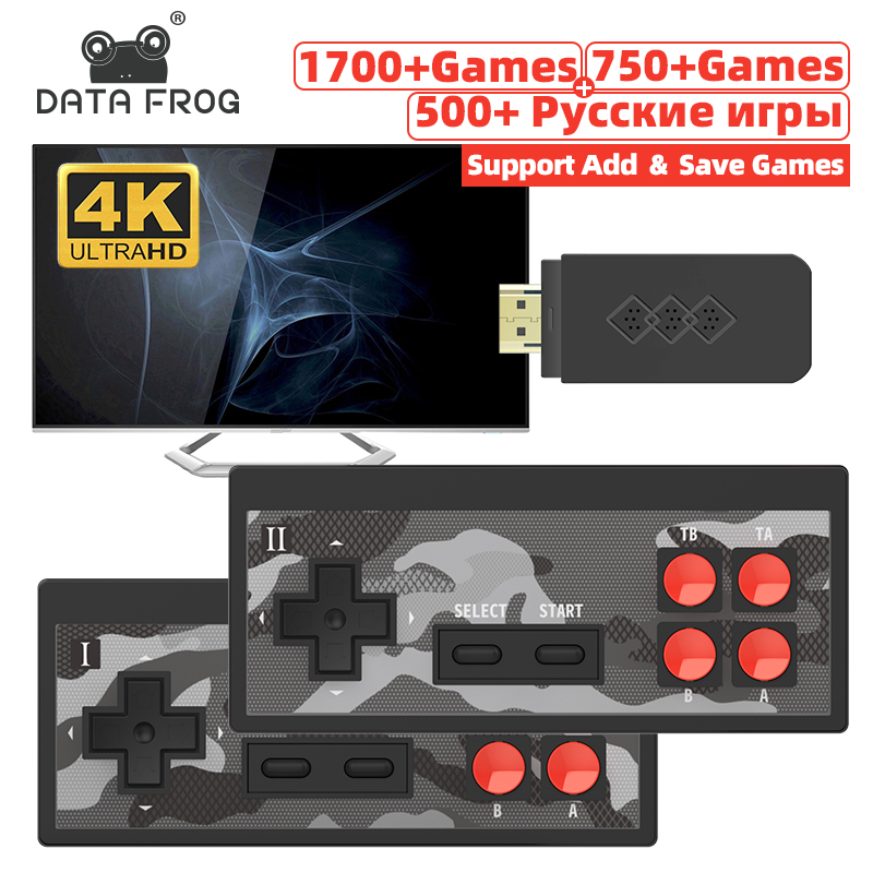 Data Frog Mini 4K Video Game Console Dual Players and Retro Build in 1700+ NES Games Wireless Controller HD/AV OUT Dendy Prefix
