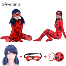 Children Disfraz Lady Bug Cosplay Costume For Adults Kids Ladybug Costumes Halloween Cosplay Jumpsuits With Marinette Wig Gifts