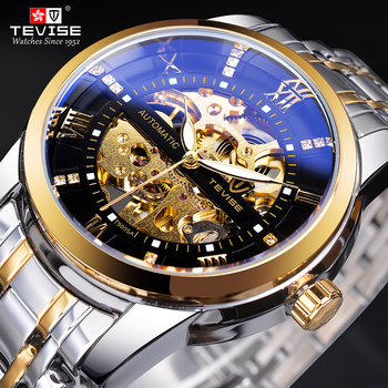 TEVISE Retro Diamond Design Black Gold Mechanical Watch Top Brand Automatic Clock Fashion Luxury Skeleton Waterproof Wrist Watch 2017 new hot fashion handsome wise amazing men s classic black leather gold dial skeleton mechanical sport army wrist watch