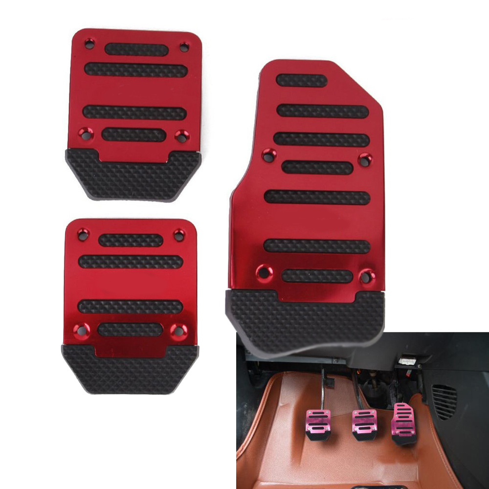 Car Styling Car Pedal Pads 3Pcs Non Slip Car Aluminum Manual Transmission Red Pedal Cover Set Kit Brake Clutch Accelerator