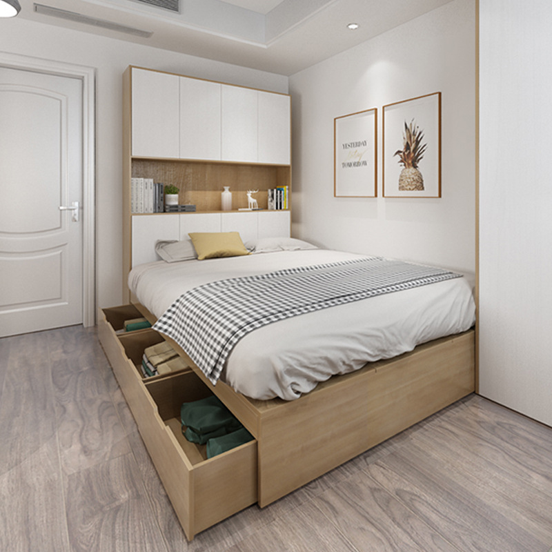 Modem Japanese Tatami Bed 1.2m 1.5m 1.8m E1 Medium Density Fiberboard Large Capacity Bookshelf Single Bed Double Bed Apartment