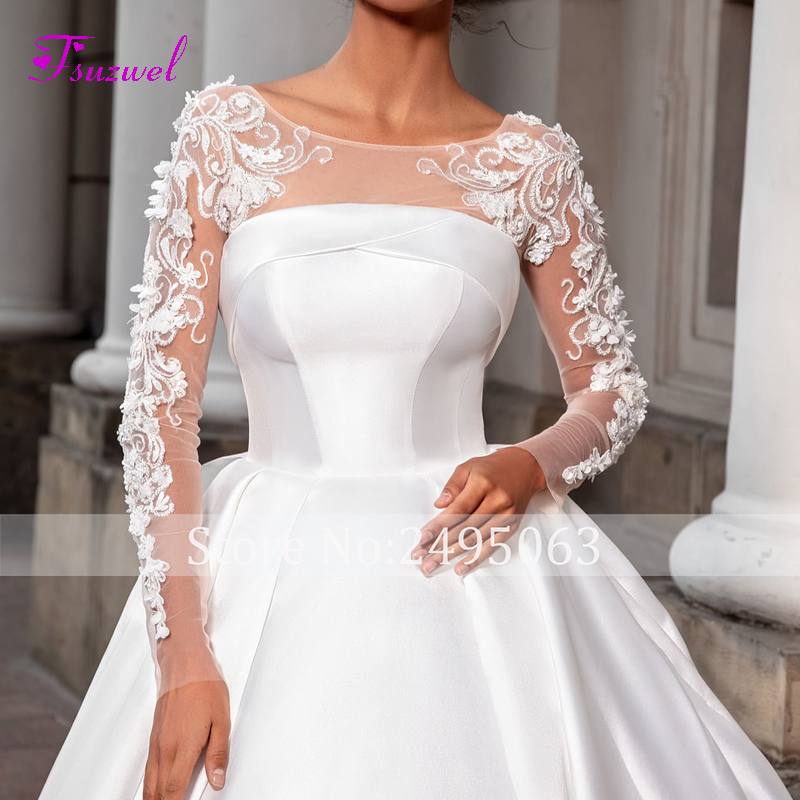 Image 3 - Fsuzwel Romantic Scoop Neck Long Sleeve A Line Wedding Dress 2020 Luxury Beaded Appliques Satin Court Train Vintage Bridal GownWedding Dresses   -