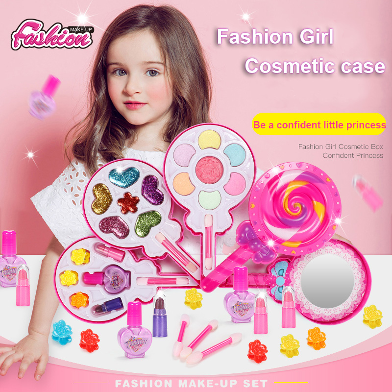 Fashion Washable Makeup Toys Lollipop Cosmetic Toy Girl Gift Box Kids Real Make Up Kit For Girls Safe Baby Cosmetics Beauty Set