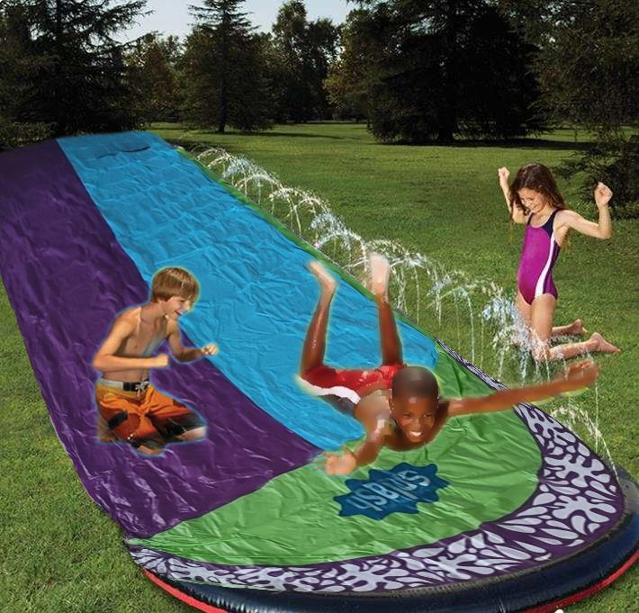 Ground Surfing Double Water Slide Inflatable Play Center Slide For Children Summer Backyard Swimming Pool Games Outdoor Toys