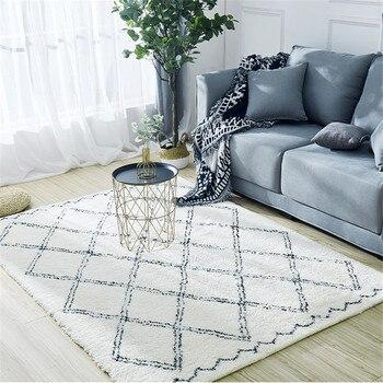 Alfombras de lana marroquíes para dormitorio, alfombras de felpa a cuadros, modernas,...