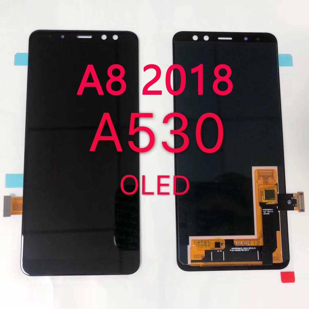 Super AMOLED A530 LCD For Samsung <font><b>A8</b></font> <font><b>2018</b></font> LCD A530F LCD <font><b>Display</b></font> Touch Screen Digitizer Assembly Replacement <font><b>A8</b></font> <font><b>2018</b></font> LCD Screen image