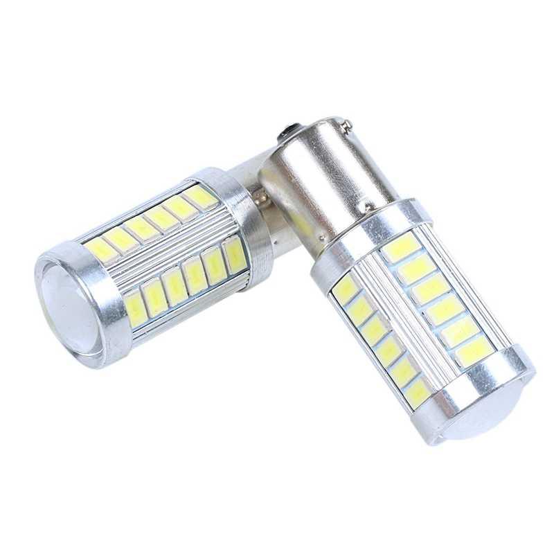 2 Chiếc 12V BA15S P21W 1156 Đèn LED Hỗ Trợ Xe Hơi Ánh Sáng Trắng Bóng Đèn 33-SMD 5630 5730 & 2 Chiếc đèn LED Siêu Sáng 1157 Bóng Đèn LED