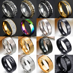 Rings for Twist-Chain Punk Numeral Wedding Titanium Steel Black Roman Men 8mm Polished