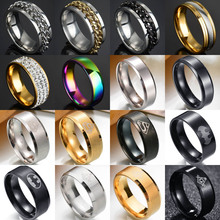 8mm Punk Titanium Steel Roman Numeral Twist Chain Rings For Men Polished Black Punk Rock Biker Ring Wedding Masonic Ring