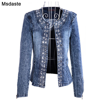 Denim Jackets for Women New Diamonds Paillette Woman Coats Blaser Vintage Water-Wash Casual Lady Jeans Cardigan Jaqueta Feminina