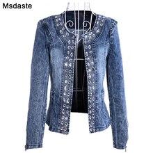 Denim kurtki dla kobiet nowość diamentowe błyskotka kobieta płaszcze Blaser Vintage myjnia w stylu Casual, damska Jeans Cardigan Jaqueta Feminina
