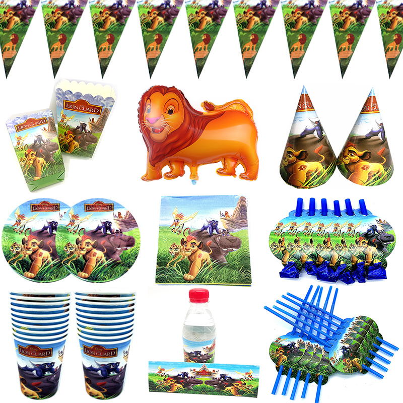 Lion Guard Theme Party Decoration Tableware Paper Cup Plate Napkins Hat Baby Shower Lion King Simba Kids Birthday Party Supplies