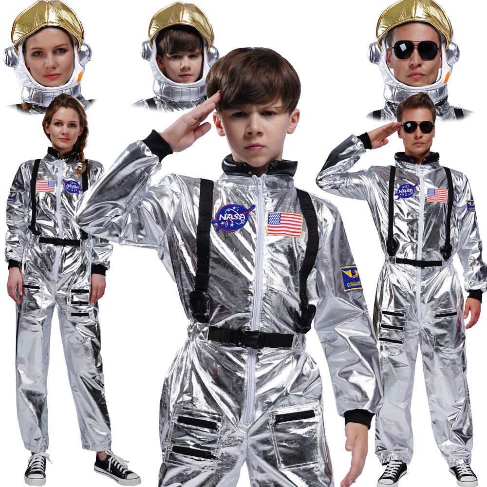 Adult Men Astronaut Costumes Cosplay Halloween Astronaut Sliver Jumpsuit With Hat Role Play Boy's Astronaut Costume