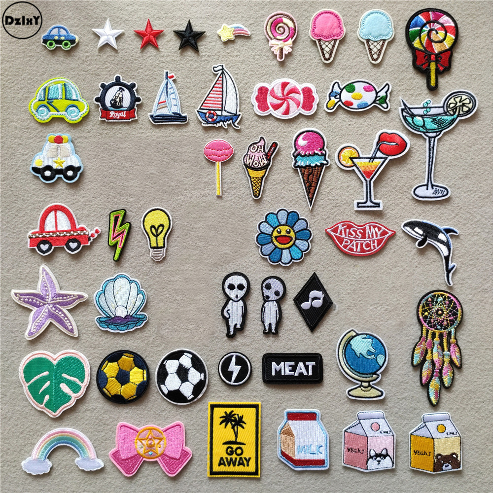 (46 Styles) Ice Cream Iron On Patches For Clothing Cartoon Cars Stickers Stripes Appliques On Clothes Embroidery Sailboat Badges