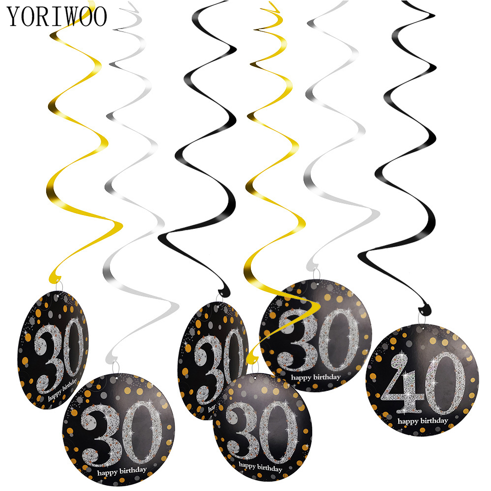 YORIWOO 21st 18 30 40 <font><b>50</b></font> 60th Years Birthday Hanging Swirls Black And Gold Happy 30th Birthday Party Decorations Adult Men Women image