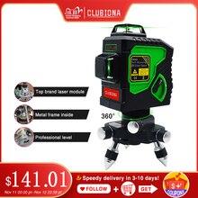 Clubiona 3D 12GH 12 Lijnen Laser Niveau met Zelfnivellerende Super Krachtige GROENE Laser Beam Lijnen en MSDS gecertificeerd batterij