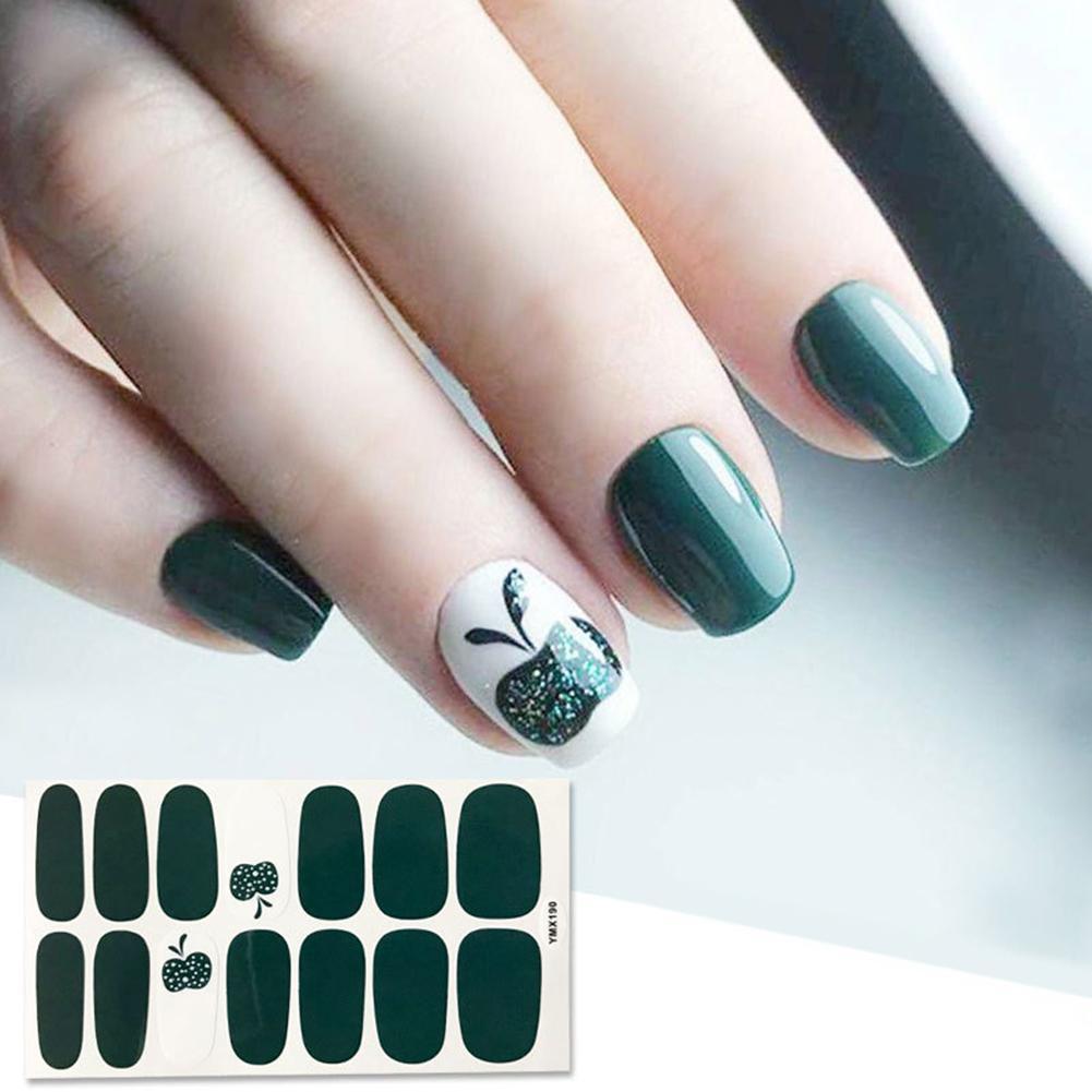 14 Sztuk Arkusz Drzewo Zielony Prosty Letni Suwak Do Manicure Nail