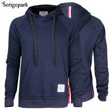 Men's SerigePark Hoodie With Cap Casual Homme Man Sweatshirt Mercerized Cotton Material Clothing Streetwear Male Big Size Browne