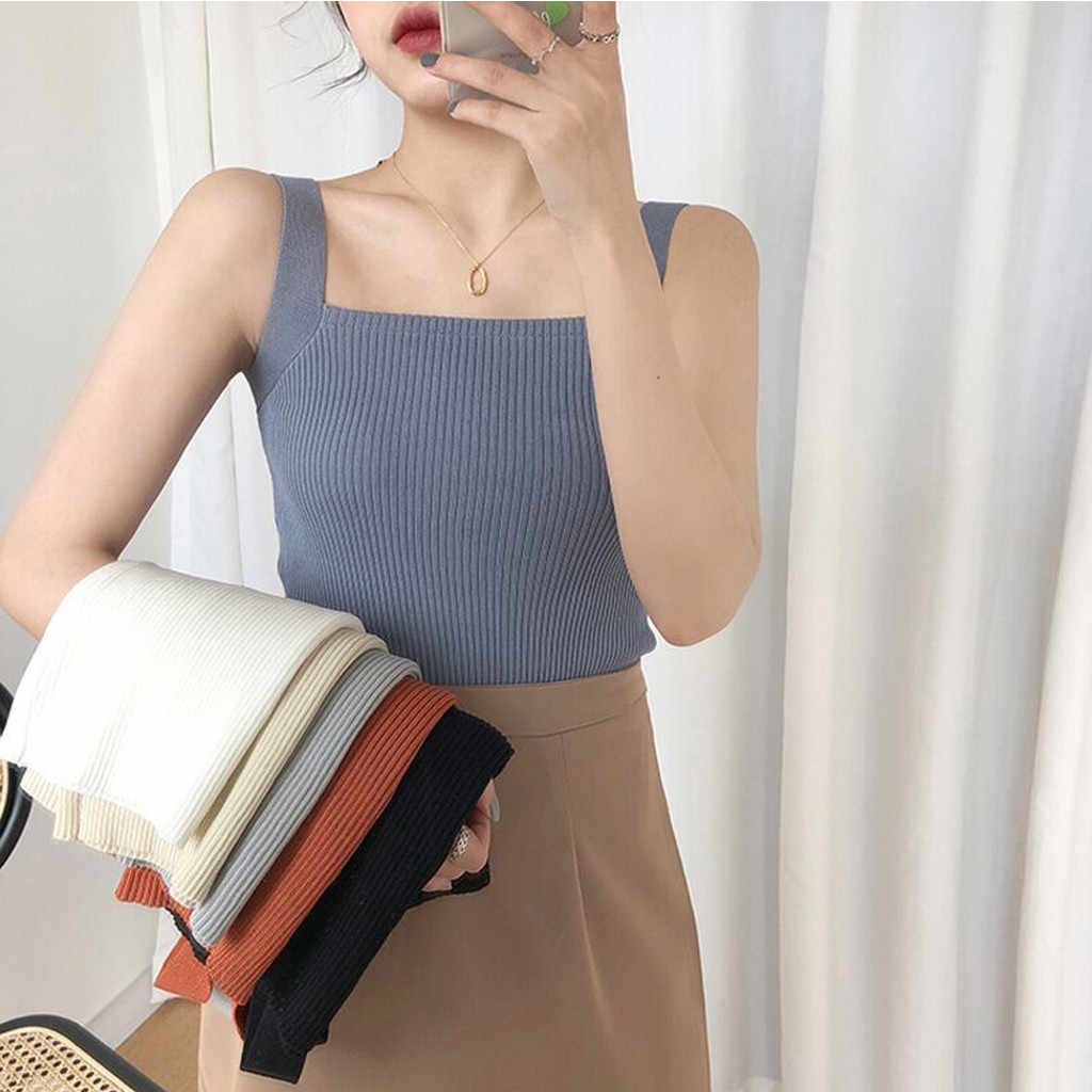 Korean Casual Vest Female Tee Knitwear Women Sexy Fashion Knitting Vest Top Solid Sleeveless Sling Inside Shirt#P3