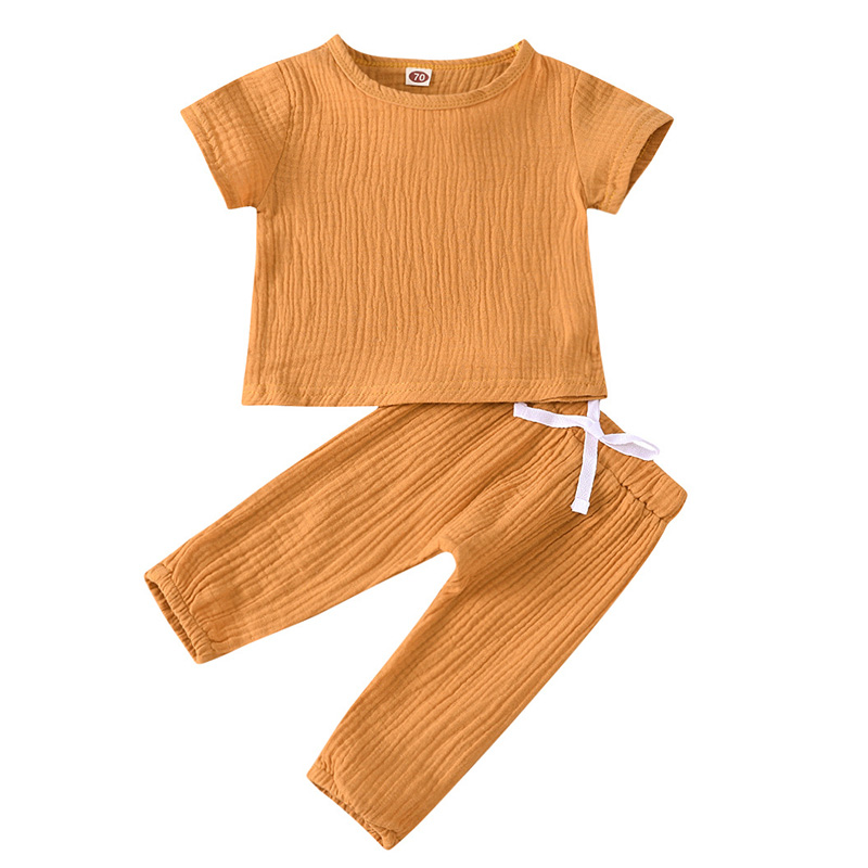 Infant Baby Boys Girls Clothes Pure Color Cotton Linen Short Sleeve Tops+Pants Summer Toddler Baby Boys Girls Clothing Outfit 6