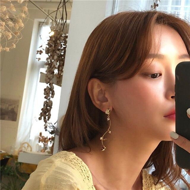 AOMU Korea Design Metal Gold Geometric Irregular Circle Square Natural Freshwater Pearl Stud Earrings for Women Girl Gift 5