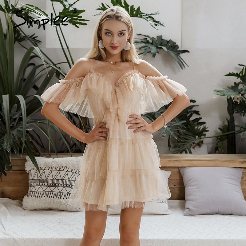 Simplee Sexy Straps Off Shoulder Women Mini Dress Ruffles Multi-layer Female Lace Cake Dresses Party Club Ladies Mesh Vestidos