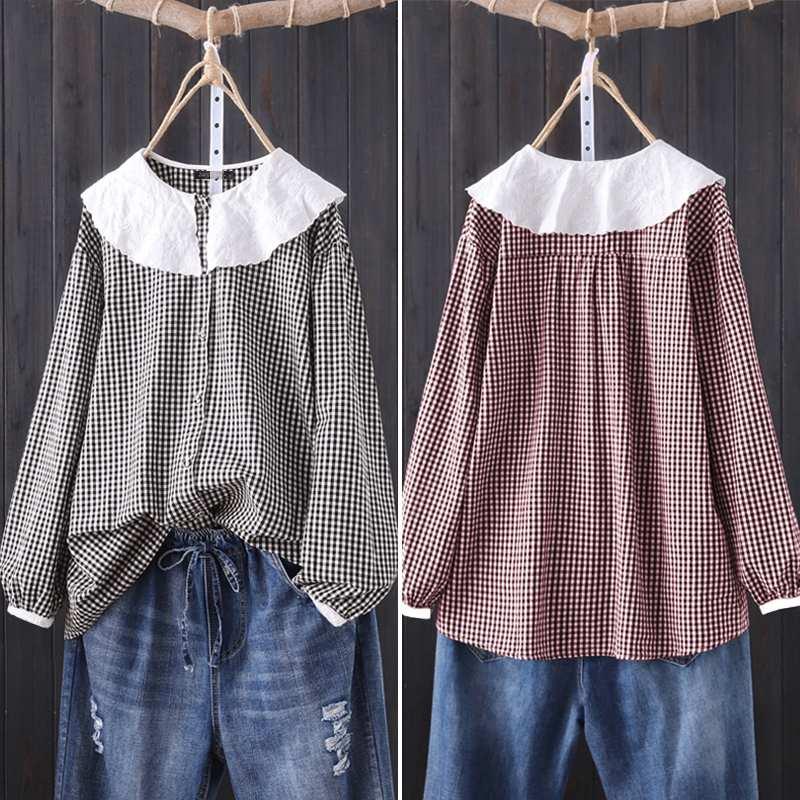 Plus Size Women's Plaid Shirt ZANZEA Ladies Casual Long Sleeve Blouse 2019 Autumn Vintage Long Sleeve Tunic Tops Blusas Chemise