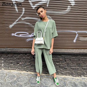 Casual Women Set 2020 Summer Loose Short Sleeve Top Shirt And Elastic Waist Long Pants Two Piece Sets Home Outfit Suits
