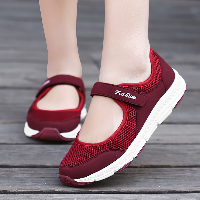 Summer Women Sneakers Breathable Healthy Walking Shoes Female Running Shoes Mary Jane Mesh Trainers Woman Flats Shoes Large Size