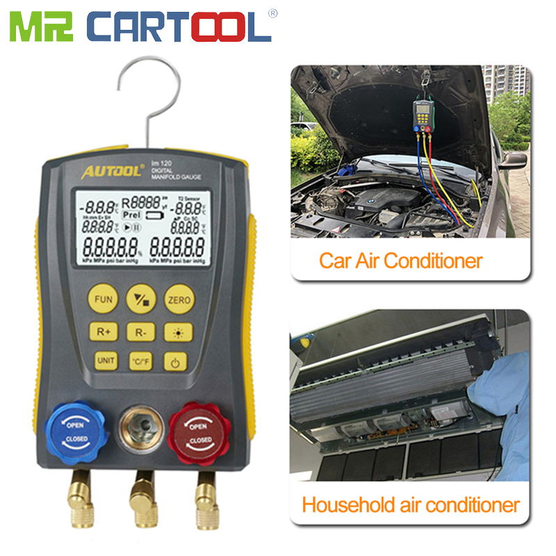 HVAC Manifold Air Conditioning Vacuum Pressure Temperature Tester Leakage Test Refrigeration Tools Digital Pk Testo