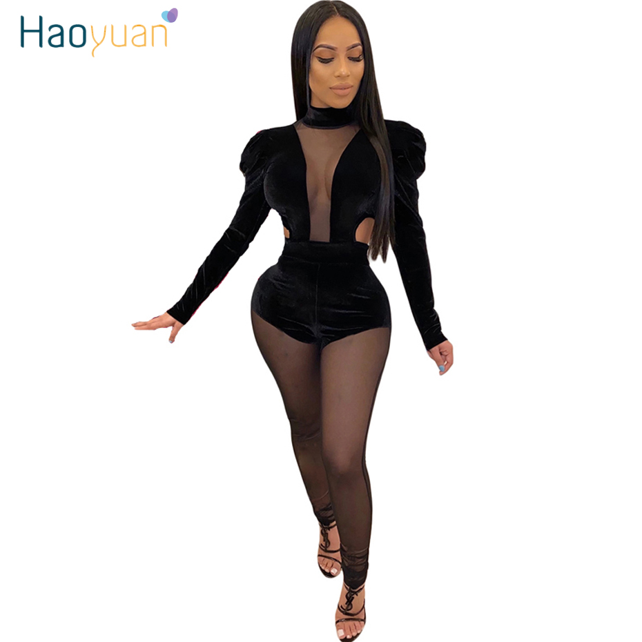 HAOYUAN Sexy Mesh Sheer Splice Velvet Jumpsuit Women Rave Festival Long Sleeve Club Body Overalls One Piece Rompers Jumpsuit