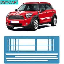 DSYCAR 1Set Car Hood Trunk Engine Rear Side Stripes Stickers Body Kit Decal for Mini Cooper Countryman R60 2013-2016