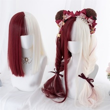 Halloween Cosplay Wig Blonde Bob Party Wavy Bangs Synthetic Long Ombre Japan Cute Mixed