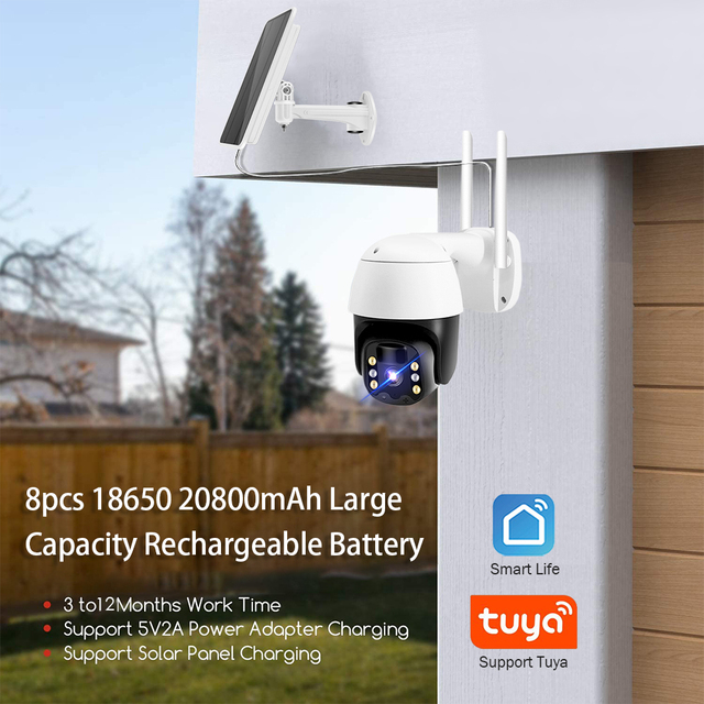 Tuya IP Camera PTZ 1080P HD Starlight Night Vision Outdoor Solar Battery Powered Wireless WIFI Camera Security Surveillance 2